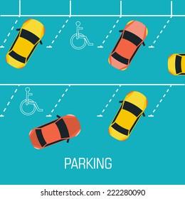 Flat parking a car background concept. Vector illustration design