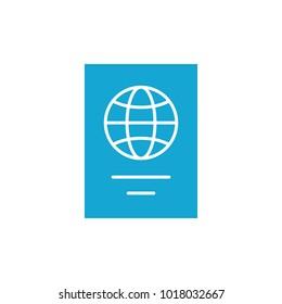 flat passport icon on white background simple
