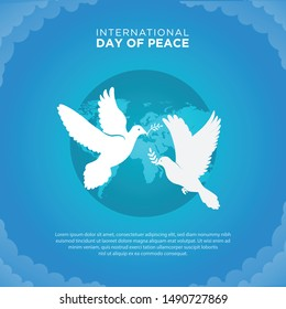 Flat peace day background with dove Free Vector. International Day of Peace background with pigeon.