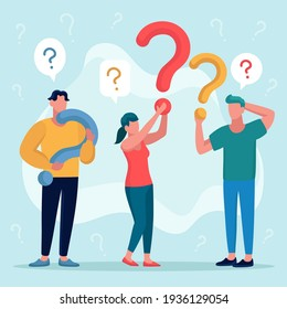 Flat people asking questions Vector illustration.