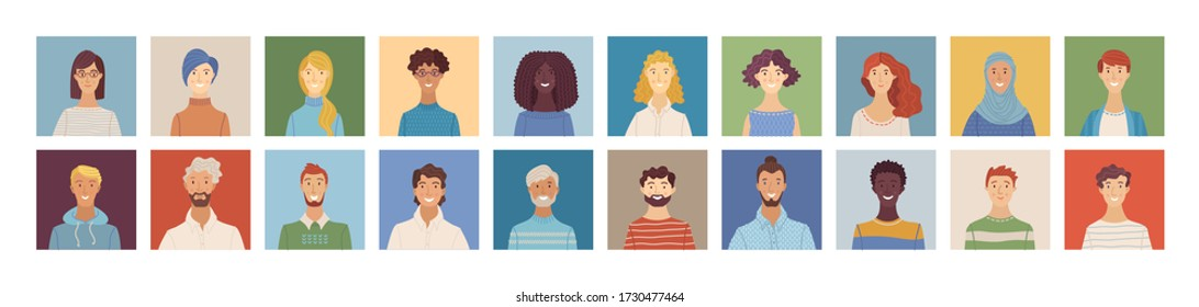 Flat people avatars set. Happy multicultural young, adult, and senior men and women profile pictures. Diverse human face icons for representing a person. Vector user pic for web forum or account
