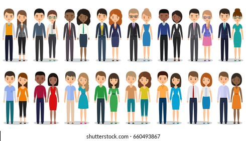 Flat people characters. Vector young men, women in casual and business clothes standing together. Cartoon males, females isolated on white background. Vector icons businessmen and businesswomen