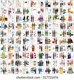 Flat People - Different Occupation Set. Collection Of Colorful Icons. For Web, Websites, Print, Presentation Templates, Mobile Applications And Promotional Materials - Vector Illustration