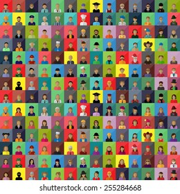 Flat People Icons, Different Occupation: Waiter, Police, Miner, Firefighter, Surgeon, Clown, Judge, Barman, Sailor, Hipster, Worker, Wizard, Athlete, Skater- Isolated On White - Vector, Graphic Design
