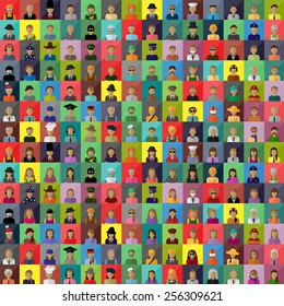 Flat People Icons, Different Occupation: Waiter, Police, Miner, Firefighter, Surgeon, Clown, Judge, Astronaut, Barman, Sailor, Hipster, Gentleman, Worker -On Mosaic Background,Vector, Graphic Design