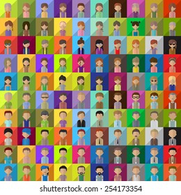 Flat People Icons - Isolated On Background - Vector Illustration, Graphic Design Editable For Your Design