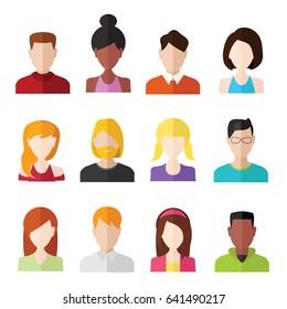 Flache Menschen Symbole. Männliche und weibliche Gesichtspatare.