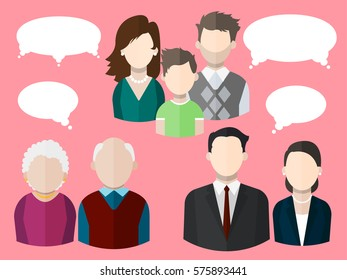 Flat people icons (mother, father and their son, grandpa and grandma,  business man and business woman) with different thought bubbles. Various segments of population. Vector isolated illustration.