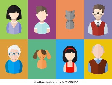 Flat people icons (mother, father and their son and daughter, grandpa, grandma and pets. Family. Segment of population