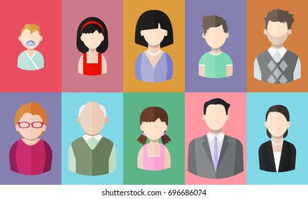 Flat people icons (mother, father and their son and daughter, grandpa, grandma, business people). Segment of population. Vector isolated illustration
