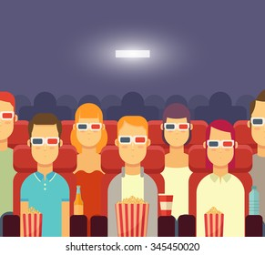 Flat People with Popcorn Watching Movie in Cinema. 3D Cinema Concept. Colorful Vector Illustration