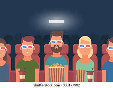 Flat People Sitting in the Cinema and Watching a Movie. Colorful Vector Illustration
