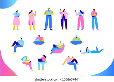 Flat  People vector set. People with gadgets, communication. Network, internet. Vector characters in modern flat style isolated on white background.