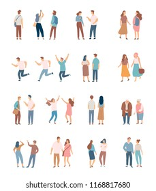 Flat People vector set  isolated on white background. Friends, girls and guys, men and women, elderly people.