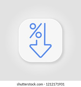 Flat percent down line icon blue. Percentage, arrow, reduction on gray background with soft shadow