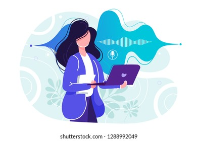 Flat personal online assistant illustration. Office girl with laptop microphone dynamic icon, sound waves. UI, UX, mobile app, web site concept for voice recognition landing page design
