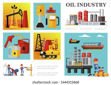 Flat petroleum industry composition with petrochemical plant drilling rig derrick fuel truck tankers industrial workers oil barrels cans gas station pump vector illustration