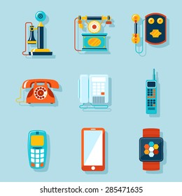 Flat phone icons set. Retro and touchscreen, digital display and gadget, handset and communicator. Vector illustration