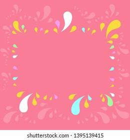 Flat photo photo of Copy Space Frame Decorated by Different Sized Multicolored Splashes on Perimeter. Creative Background Idea for Announcements, Advertisements.