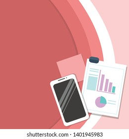 Flat photo Layout of Switched Off Smartphone Device, Sticky Notes and Clipboard with Colored Pie Chart and Declining Bar Graph for Reports and Presentations