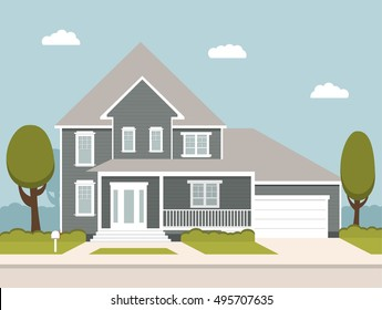 The flat picture with the image of the house with the garage and trees standing at the road.suburban house.country house.Wooden country cottage.Two-storeyed house with veranda and garden with trees.