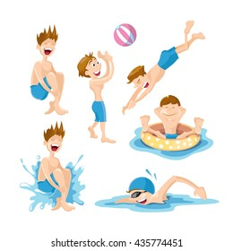 Flat pictures set of boys wich play and swim in the pool. Vector illustrations isolate on white background