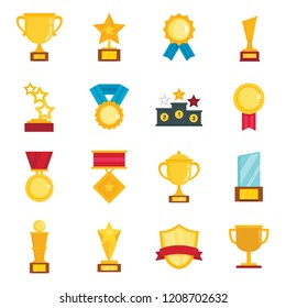 Flat pictures set of different gold trophy. Vector cup prize, award to champion vector illustration isolated on white background