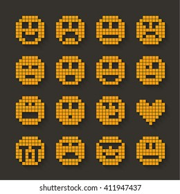 Flat pixel smile icons set with shadow effect. Vector illustration.