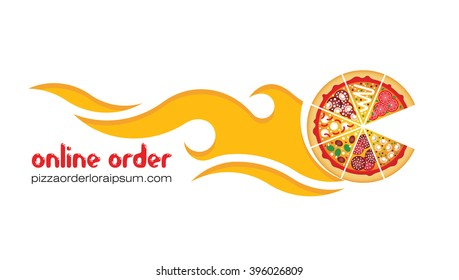 Flat pizza delivery. Vector pizza online. Flat vector pizza online delivery logo. Order pizza online.