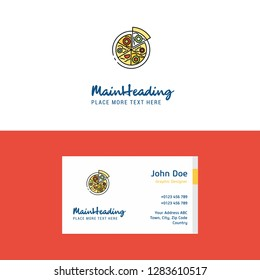 Flat Pizza Logo and Visiting Card Template. Busienss Concept Logo Design