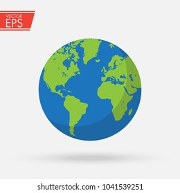 Flat planet Earth icon. Detailed colored world map. Global sphere planet symbol. Ecology concept. Vector illustration for web banner, web and mobile, infographics.
