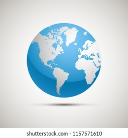 Flat planet Earth icon. Vector illustration for web banner, web and mobile, infographics.