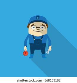Flat Plumber Character Illustration