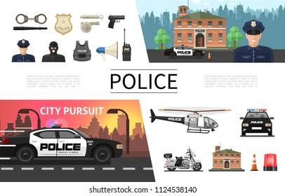 Flat police elements concept with policeman criminal sheriff badge gun helmet loudspeaker handcuffs helicopter car motorcycle siren radio set vector illustration