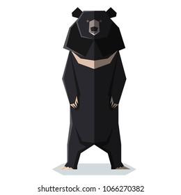 Flat polygonal Asian black bear