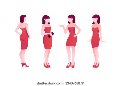 Flat poses set young woman character with red dress and shoes. Concept isolated silhouette girl with date clothing. Vector illustration.
