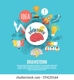 Flat poster composed of different brainstorm icons including red brain in center on blue background vector illustration
