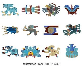 flat pre-columbian aztec glyph icons 2
