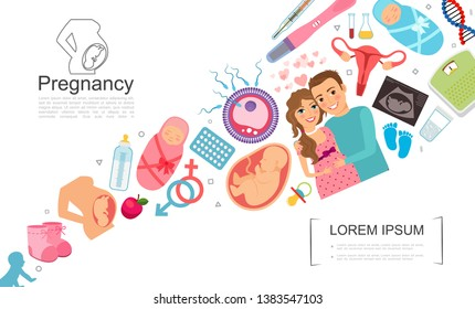 Flat pregnancy colorful concept with happy man pregnant woman fetus unborn baby child shoe pills sperms egg DNA scale thermometer uterus pacifier vector illustration