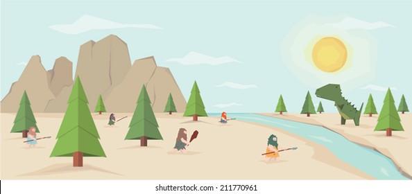 Flat prehistoric scene of a neanderthal men fighting with dinosaur (vector).