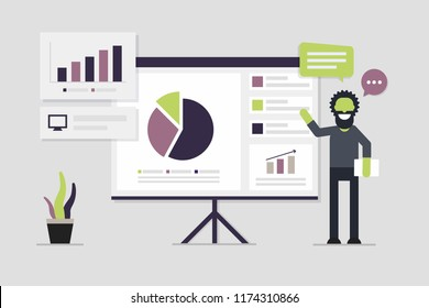 Flat presentation design, Analytics  character with colorful chart, dashboard, graph. Business seminar template, Minimal trend web elements.