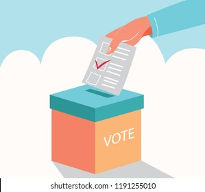 Flat presidential election and democracy political president, governor, or parliament member with election and referendum freedom to hand paper vote with ballot box vector illustration