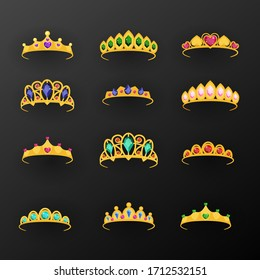 Flat princess tiara collection. Vector illustration.