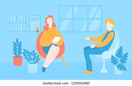 Flat psychologist office, patient having individual psychological therapy and counseling with therapist. Psychotherapy session. Mental health, healthcare and psychology. Psychiatrist consultation