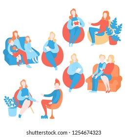 Flat psychologist set, psychological therapy and counseling with therapist. Psychotherapy session.