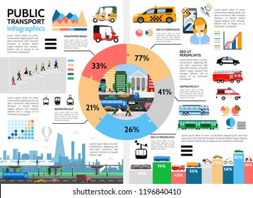 Flat public transport infographic concept with circle diagram taxi tuk tuk urban traffic bus trolleybus police car fire truck ambulance passengers vector illustration
