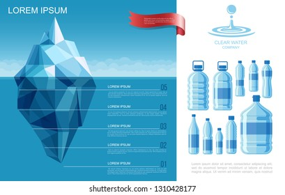 Flat Pure Water Infographic Template