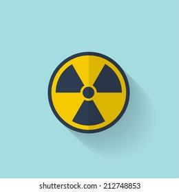 Flat radiation icon.