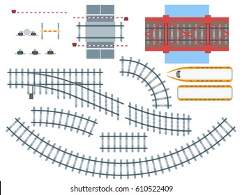 Flat railway elements set with train tracks of different shapes bridge traffic light barriers isolated vector illustration