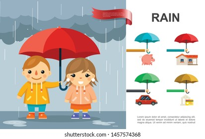 Flat rain bright concept with kids with umbrella standing under rain and money car house protection against storm vector illustration